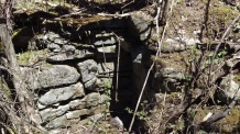 The foundation of a 19th century homestead on the property