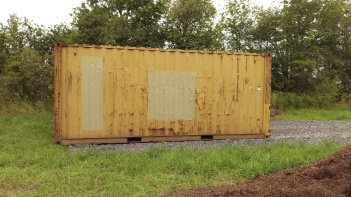 First Step: clean and sand down surface of shipping container