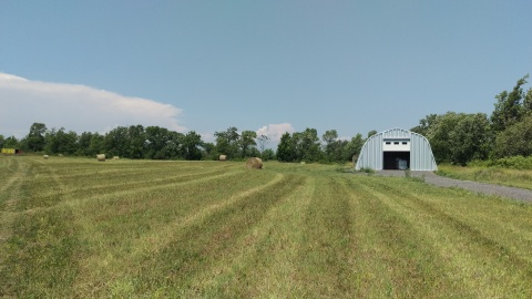 Harvesting the hay at the farm